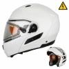 Снегоходный шлем с электростеклом белый